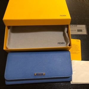 Auth Fendi continental Saffiano Leather wallet